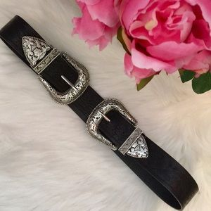 Accessories - Double buckle western vintage black silver belt